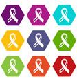 american ribbon icon set color hexahedron vector image vector image