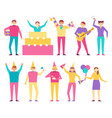 birthday party participants cartoon style people vector image