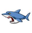 blue shark cartoon vector image vector image