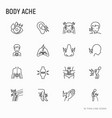 body aches thin line icons set vector image vector image