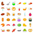 breakfast icons set cartoon style vector image vector image