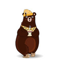 cartoon bear in slippers and night cap holding vector image vector image