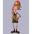 cartoon funny man worker in a helmet vector image vector image