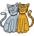 cartoon two cats in love vector image