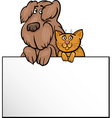cat and dog with card cartoon design vector image vector image