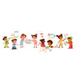 children drawing with pencils vector image vector image