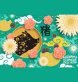 chinese new year card with china flower ornament vector image vector image