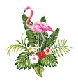 composition pink flamingo tropical leaves vector image