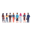 crowd back view group men and women vector image