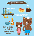 cute bear in the kitchen vector image vector image