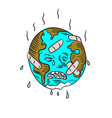 earth sad and crying doodle vector image