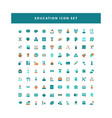 education icons set with flat color style design vector image