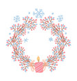 festive wreath with candle hygge christmas vector image vector image