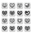 Folk hearts with flowers and birds buttons set vector image vector image