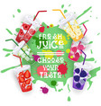 fresh juice set colorful fruit drinks collection vector image