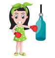 girl with boxing gloves on white background vector image vector image