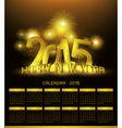 Gold Platinum calendar 2015 and Happy New Year vector image vector image