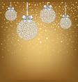 golden xmas postcard with balls vector image vector image