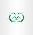 green healthy kidneys symbol vector image