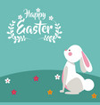 happy easter bunny floral design vector image vector image