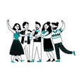 happy people drinking friends party cocktail vector image vector image