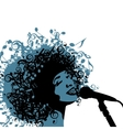 Head of Woman with Hair as Musical Symbols on a vector image