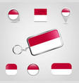indonesia country flag on keychain and map pin vector image