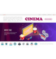 isometric movie time web page template vector image vector image
