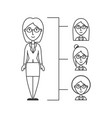 line businesswoman people with hairstyle vector image
