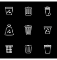 line trash can icon set vector image