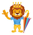 lion with umbrella on white background vector image