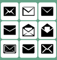 mail envelope icons set vector image vector image