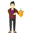 man holding clothes for baby vector image vector image