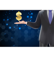 Man with icons symbol of dollar gold on the hand vector image vector image