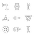 mechanical gear icon set outline style vector image vector image