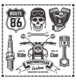 motorcycles and bikers black elements vector image