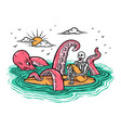 octopus attacks surfers vector image vector image