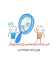 ophthalmologist looking through a magnifying glass vector image vector image