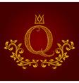 Patterned golden letter Q monogram in vintage vector image vector image