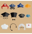 professional people hats set vector image vector image