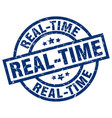 real-time blue round grunge stamp vector image vector image