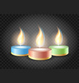 romantic candles flame on transparent background vector image