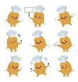 set cute potato chef cartoon characters vector image vector image