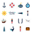 set of nautical marine symbols seamless pattern vector image