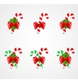 Set of traditional Christmas candy cane decoration vector image vector image
