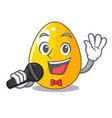 singing simple gold egg on design character vector image