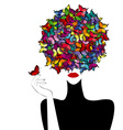 Stylized woman wiith colored butterflies on her vector image vector image