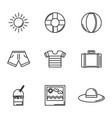 tourism travel time summer icons linear set vector image vector image