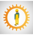 under construction gear worker vector image vector image