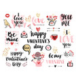 valentinesday calligraphic set vector image